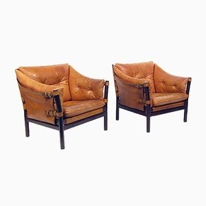Ilona Chairs in Tan Leather by Arne Norell, 1960s, Set of 2
