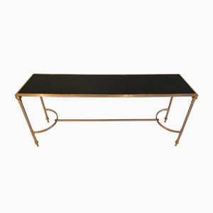 Console in Steel, Brass, and Black Opaline Glass, 1970s