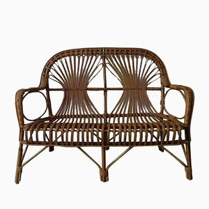 Vintage Bamboo & Rattan Bench, 1950s