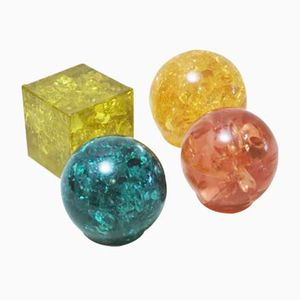 Fractal Resin Paperweights, 1970s, Set of 4
