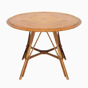Vintage Coffee Table with Circular Rattan Edge