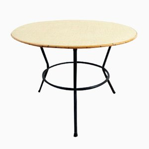 Vintage Rattan Coffee Table with Black Metal Base