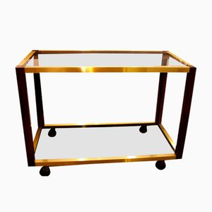 Vintage Drinks Trolley in Walnut and Brass, 1950s