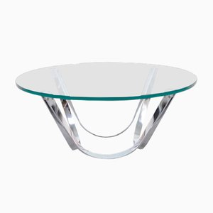 Round Glass Coffee Table by Roger Sprunger for Dunbar, 1970s