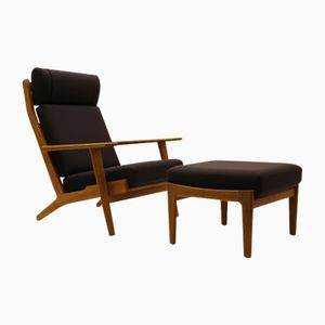 Vintage GE290A Easy Chair and GE290S Ottoman by Hans J. Wegner for Getama