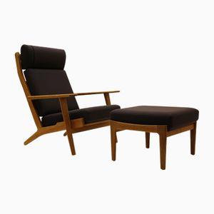 Vintage GE290A Sessel und GE290S Ottomane von Hans J. Wegner für Getama
