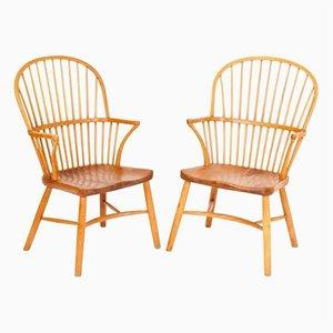 Vintage Windsor Stühle von Palle Suenson für Fritz Hansen, 2er Set