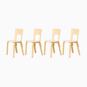 Model 66 Dinner Chairs by Alvar Aalto for Artek, 1960s, Set of 4