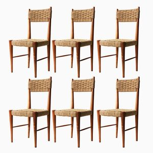 Wood and Natural Fiber Chairs, 1950s, Set of 6