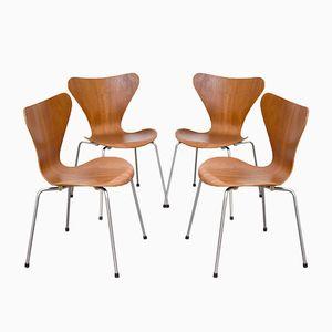 Series 7 Teak Esszimmerstühle von Arne Jacobsen für Fritz Hansen, 1967, 4er Set