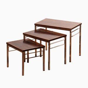 Tables Gigognes en Palissandre & Chrome, 1960s
