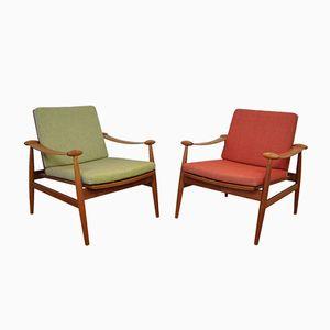 Dänische Spade Stühle von Finn Juhl für France & Søn, 1950er, 2er Set