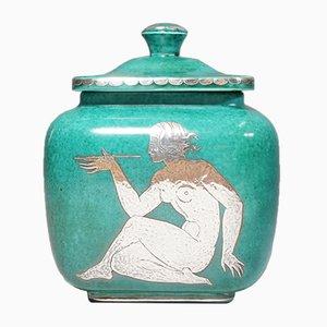Vintage Argenta Keramik Urne mit Deckel von Wilhelm Kåge für Gustavsberg