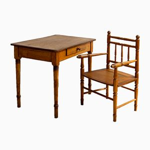 Antique Children's Desk & Armchair, 1910s