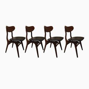 Niederländische Mid-Century Esszimmerstühle von Louis van Teeffelen für Wébé, 4er Set