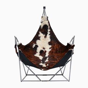Skulpturaler Französischer Sessel mit Rindsleder Sitz, 1960er