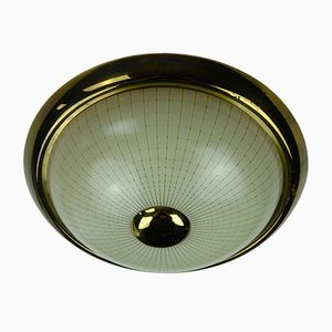 German Metal & Glass Ceiling Light, 1950s