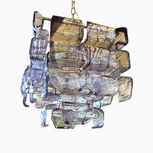 Lila Murano Glas Deckenlampe von Mazzega, 1960er