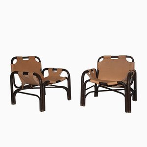 Bamboo & Leather Armchairs, 1960s, Set of 2