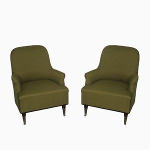 Grüne Italienische Sessel, 1950er, 2er Set