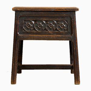 Antique Oak Square Side Table