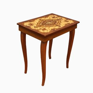 Swedish Side Table with Storage Compartment and Music Box