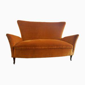 Italienisches Zwei-Sitzer Ohrensessel-Sofa, 1950er