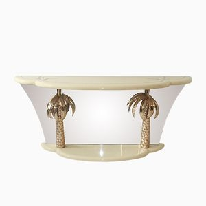 Vintage Italian Lacquer and Brass Palm Tree Console Table