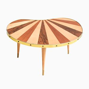 Vintage East German Striped Kidney-Shaped Table, 1960s