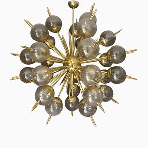 Sputnik Chandelier in Brass with Golden Murano Glass Globes, 1970s