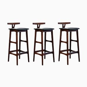 Vintage Bar Stools in Rosewood by Erik Buch for Dyrlund, Set of 3