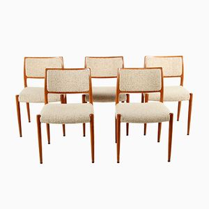 Model 80 Teak Chairs by Niels O. Møller for J.L. Møllers, 1960s, Set of 5