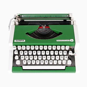 Green Travel Typewriter by Alfons Boothby & Georges Joseph for Olympia, 1960s