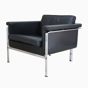 Vintage Club Chair in Black Leather by Prof. Horst Brüning for Kill International