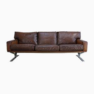Vintage 3-Sitzer Sofa aus Braunem Leder von Georg Thams für Polster Mobelfabric
