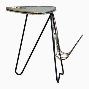 Table d'Appoint Vintage avec Cendrier et Porte-Revues Intégrés