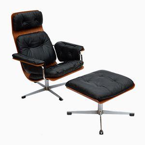 Vintage Sessel mit Ottomane von Marco Engler für Kauffeld