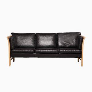 Schwarzes Dänisches Vintage Danish 3-Sitzer Ledersofa von Svend Skipper für Skippers Furniture