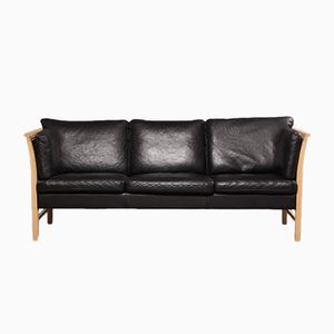 Vintage Danish 3-Seater Black Leather Sofa by Svend Skipper for Skippers Furniture