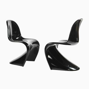 Polyurethan Chairs in Black by Verner Panton for WK Möbel, 1986, Set of 2