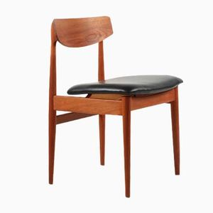Vintage German Teak & Black Leather Chair from Casala