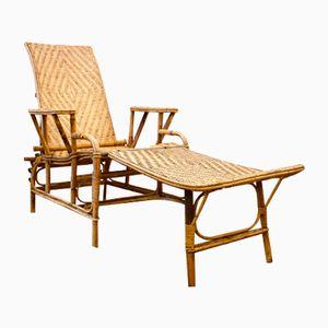 Rattan Deck Chair from Lemonnier, 1930s