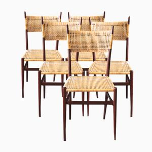 Mid-Century Teak & Basketwork Chairs, Set of 5