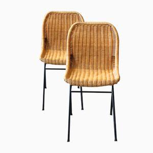 Vintage Rattan Chairs by Dirk van Sliedregt for Rohé Noorwolde, Set of 2