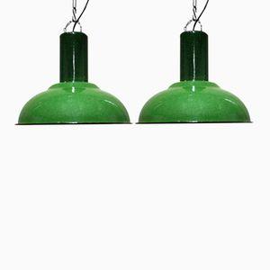 Lampes à Suspension Industrielles Vertes, 1960s, Set de 2