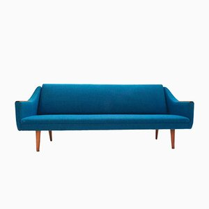 Norwegian Blue Wool & Teak Four-Seater Double Sofabed, 1960s