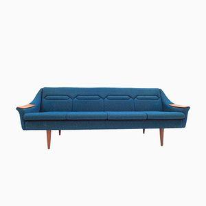 Norwegisches Vier-Sitzer Schlafsofa aus Teak & Blauem Wollbezug, 1960er