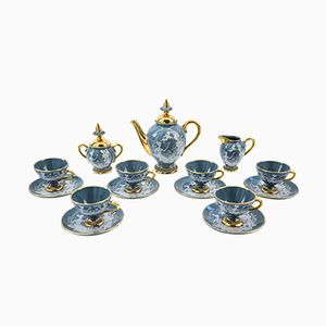 Italian Turquoise Tea Set from Florentine, 1955, Set of 9