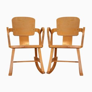 Norwegian Rocking Chairs from Per Aaslid, 1952, Set of 2