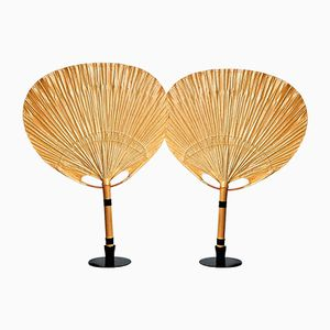 Uchiwa Table Lamps with Holders by Ingo Maurer, 1970s, Set of 2